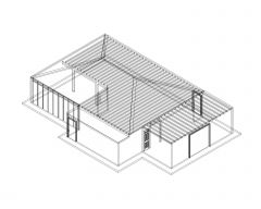 3D Truss Roof House Presentation in AutoCAD .dwg