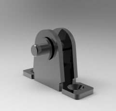 Solid-works 3D CAD Model of linear actuators accessories, Universal Mounting Bracket K9-0 with clamping Ring