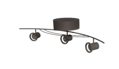 3 lamp stainless steel ceiling mounted track light revit family