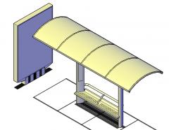 Bus stop design 3D dwg model