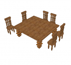 Rustic table and chairs Sketchup model