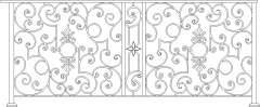 427mm Height Octagon Pattern Railings Front Elevation dwg Drawing