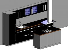 Holdspline Revitファミリを備えた完全なキッチン