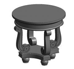 Victorian Manor Round_End_Table Revitファミリ