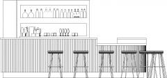 4315mm Wide Bar Counter with Wine Glass Shelves Left Side Elevation dwg Drawing