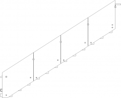 4418mm Wide Wooden Stair Threads with Steel Hnadrails Glass Right Side Elevation dwg Drawing