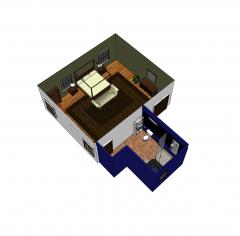 Camera d'albergo di lusso e modello Sketchup privato