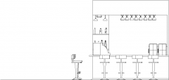 4442mm Wide Bar Counter with Shelves and Bar Stools Left Side Elevation dwg Drawing