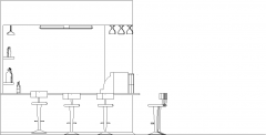 4583mm Wide Bar Counter with Shelves and Bar Stools Rear Elevation dwg Drawing