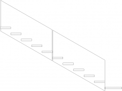 4620mm Wide Wooden Threads Stairs Left Side Elevation dwg Drawing