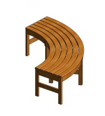 Curved Backless Bench Revit Family