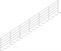 4704mm Wide Aluminum Handrails with Cantiliver Glass Threads Right Side Elevation dwg Drawing