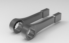 Autodesk Inventor ipt file 3D CAD Model of  wrenches WITH Thin-wall slogging ring: B x C=61,0 x 29L(mm)=200Mass(kg)=0.8