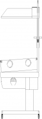 487mm Wide Adjustable Baby Incubator Right Side Elevation dwg Drawing
