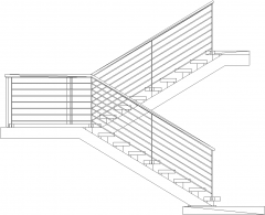 4892mm Wide Steel Horizontal Railings Stairs with Pure Wood Threads Left Side Elevation dwg Drawing