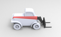 Solid-works 3D CAD Model of Forklift truck with telescopic arm