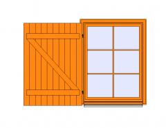 Single Window -Shutter and Small woods Revit Family