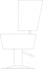 503mm Width Circular Upholstered Bench Right Elevation dwg Drawing