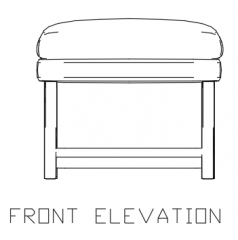 510mm Height Wooden Bench with 60mm Soft Cushion Front Elevation dwg Drawing
