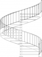 5159mm Height Aluminum Post Spiral Wooden Stairs with Steel Railings Front Elevation dwg Drawing