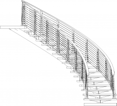 5231mm Height Wooden Stairs with Steel Handrails Front Elevation dwg Drawing