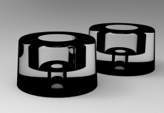 Solid-works 3D CAD Model of Rubber impact buffers for door H=21   D1=7, D=30