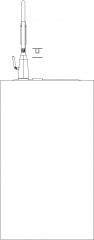 531mm Width Portable Hair Salon Wash Basin Rear Elevation dwg Drawing