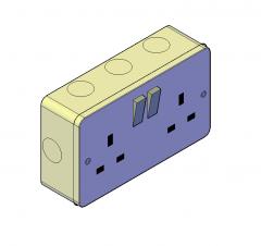 Double socket UK 3D DWG block