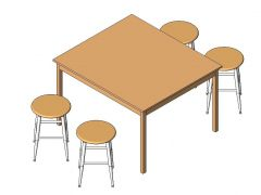 School Desk And Chairs Revit Family