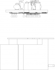 5499mm Wide Bar Counter with Glass Wine Holder Left Side Elevation dwg Drawing