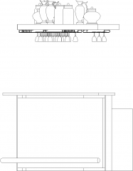 5499mm Wide Bar Counter with Glass Wine Holder Right Side Elevation dwg Drawing