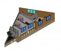 2 Bed apartment 3d floor plan 3D DWG block