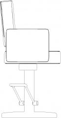 560mm Width Upholstered Bench Left Elevation dwg Drawing