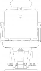 560mm Width Wing Chair Rear Elevation dwg Drawing