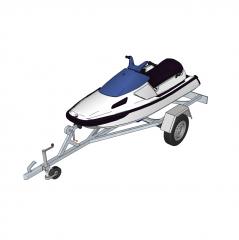 Jet ski on trailer Sketchup model