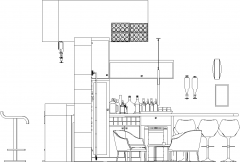 5754mm Wide Bar Counter with Table and Bar Stools Right Side Elevation dwg Drawing