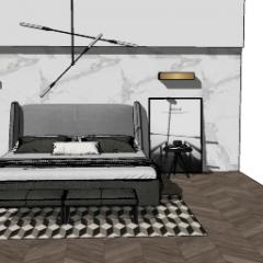 卧室设计,带顶灯和墙壁金色灯skp