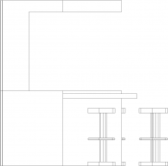 5902mm Wide Wooden Bar Counter with Wine Glass Storage Rear Elevation dwg Drawing