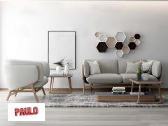Diseño de sala de estar con sofá gris y decoración de estante de madera 3ds max