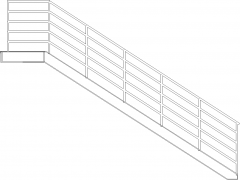 6007mm Length Steel Handrails with Steel Threads Left Side Elevation dwg Drawing