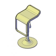 Adjustable bar stool 3D DWG block
