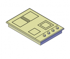 Electric cooktop 3D DWG model