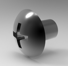 Autodesk Inventor 3D CAD Model of Round Head Screw FOR Cross Hole, M2, A4.5