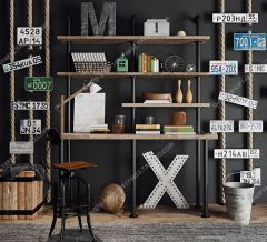 Shelves with license plates 3ds max
