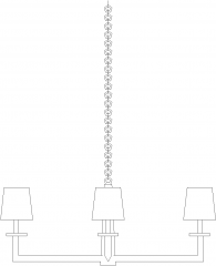 621mm Length Modern Lamp Chandelier Front Elevation dwg Drawing