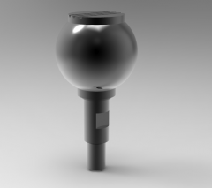 Solid-works 3D CAD Model of Knob with rotating spindle, Ø=M8Ø external=32Length of screw =12