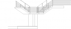 6536mm Wide Steel Staircase with Concrete Threads Rear Elevation dwg Drawing