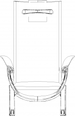 673mm Wide Assistant Senior Chair Rear Elevation dwg Drawing