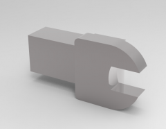 Solid-works 3D CAD Model of Mechanical tools spanner key: A=7 mmE(mm)=5 D(mm)=19L(mm)=15Mass(g)=31