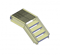 Steel deck stairs 3D DWG block